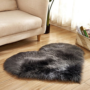 Fluffy™ Heart Love Rug uper Soft Faux Sheepskin Fur Area Rugs for Bedroom Floor Shaggy Plush Carpet Faux Fur Rug Bedside Rugs Dark Grey / Small - 30cm X 40cm - Shopptique