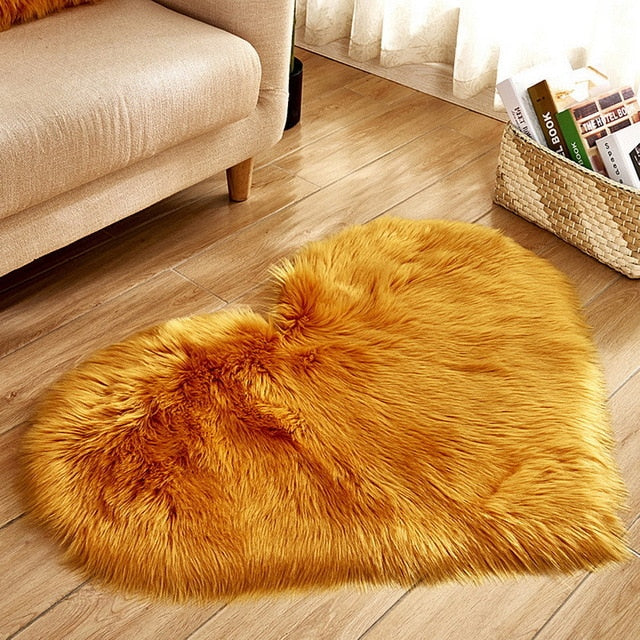 Fluffy™ Heart Love Rug uper Soft Faux Sheepskin Fur Area Rugs for Bedroom Floor Shaggy Plush Carpet Faux Fur Rug Bedside Rugs Camel / Small - 30cm X 40cm - Shopptique