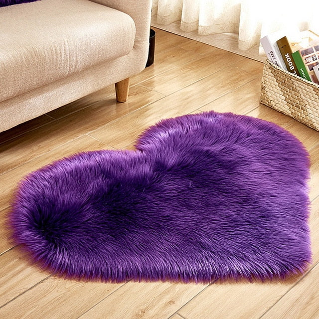 Fluffy™ Heart Love Rug uper Soft Faux Sheepskin Fur Area Rugs for Bedroom Floor Shaggy Plush Carpet Faux Fur Rug Bedside Rugs Purple / Small - 30cm X 40cm - Shopptique
