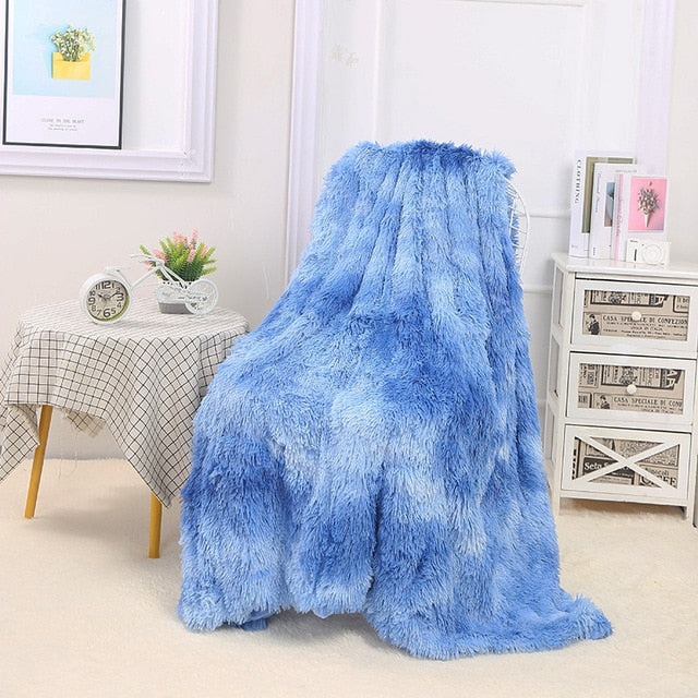 "Fluffy™ Super Soft Luxurious Blanket Super Soft Faux Sheepskin Fur blanket Blue / 160x200cm (65"" X 80"") - Shopptique"