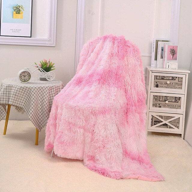 "Fluffy™ Super Soft Luxurious Blanket Super Soft Faux Sheepskin Fur blanket Pink / 130x160cm (50"" X 65"") - Shopptique"