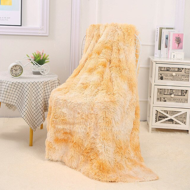"Fluffy™ Super Soft Luxurious Blanket Super Soft Faux Sheepskin Fur blanket Yellow / 160x200cm (65"" X 80"") - Shopptique"