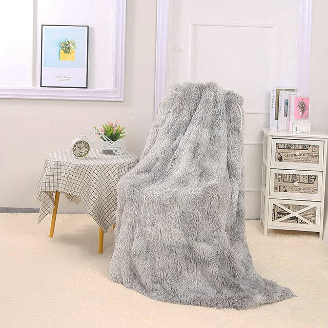 "Fluffy™ Super Soft Luxurious Blanket Super Soft Faux Sheepskin Fur blanket Grey / 160x200cm (65"" X 80"") - Shopptique"
