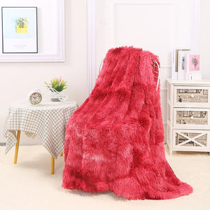 "Fluffy™ Super Soft Luxurious Blanket Super Soft Faux Sheepskin Fur blanket Red / 160x200cm (65"" X 80"") - Shopptique"
