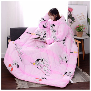 Lazyblanket- Quilted Blanket W/Hoody Lazy Quilted Blanket Hoody 150x200cm Pink dog - Shopptique