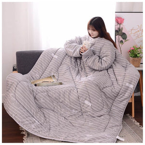 Lazyblanket- Quilted Blanket W/Hoody Lazy Quilted Blanket Hoody 150x200cm Gray Littl - Shopptique