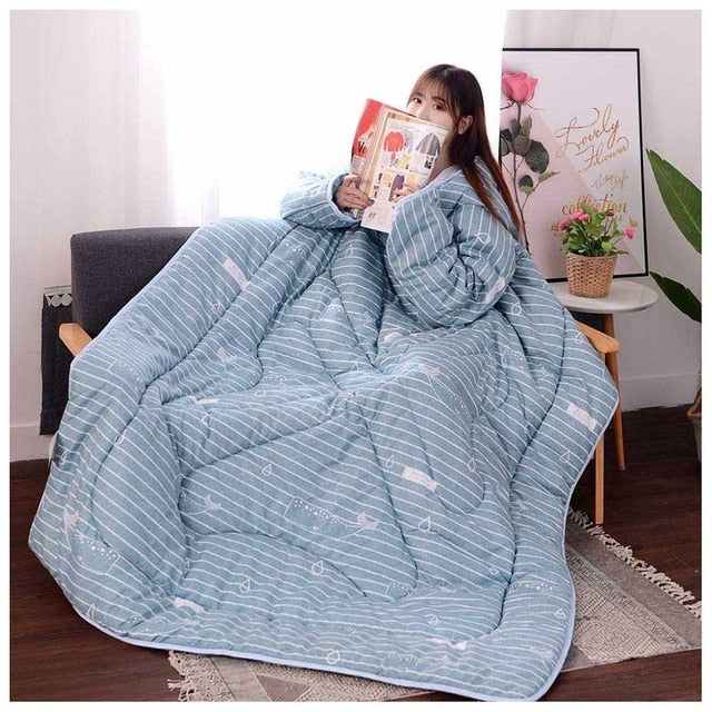 Lazyblanket- Quilted Blanket W/Hoody Lazy Quilted Blanket Hoody 150x200cm Blue Littl - Shopptique