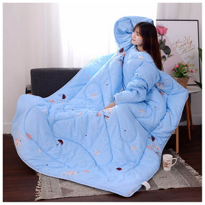 Lazyblanket- Quilted Blanket W/Hoody Lazy Quilted Blanket Hoody 120x160cm Blue Small - Shopptique
