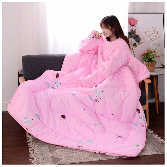 Lazyblanket- Quilted Blanket W/Hoody Lazy Quilted Blanket Hoody 150x200cm Pink Small - Shopptique