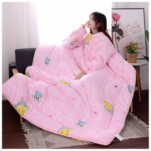 Lazyblanket- Quilted Blanket W/Hoody Lazy Quilted Blanket Hoody 120x160cm Pink Smile - Shopptique