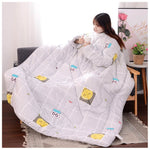 Lazyblanket- Quilted Blanket W/Hoody Lazy Quilted Blanket Hoody 150x200cm Gray Smile - Shopptique