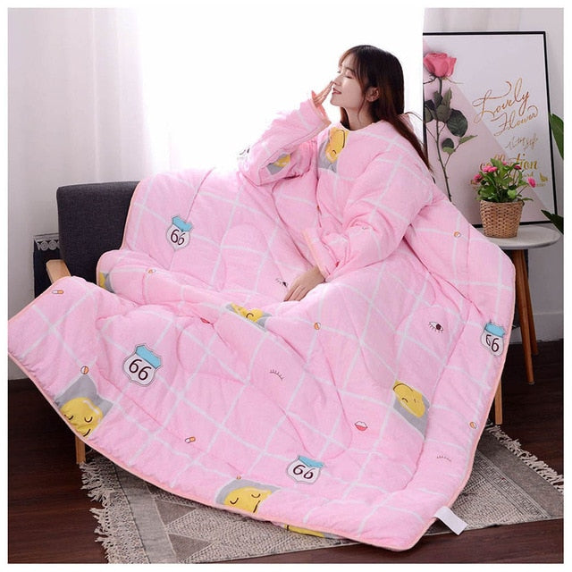 Lazyblanket- Quilted Blanket W/Hoody Lazy Quilted Blanket Hoody 150x200cm Pink Smile - Shopptique