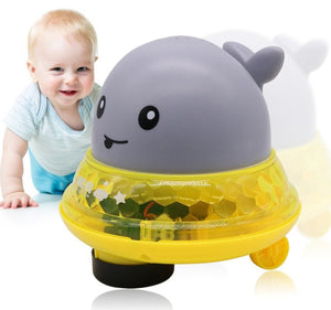 2 in 1 Baby Bath Toy bathroom water spray toy - Led Light Water Spray Ball Baby Bath Water Toys Automatic Induction Toys Grey + Yellow [50% OFF] - Shopptique
