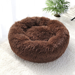 "Fluffy Super Soft Pet Bed Pet Dog Bed Warm Fleece House Long Plush Winter Dark Coffee / S - Diameter 50cm (19.7"") - Shopptique"