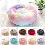 "Fluffy Super Soft Pet Bed Pet Dog Bed Warm Fleece House Long Plush Winter Rainbow / L - Diameter 70cm (27.5"") - Shopptique"
