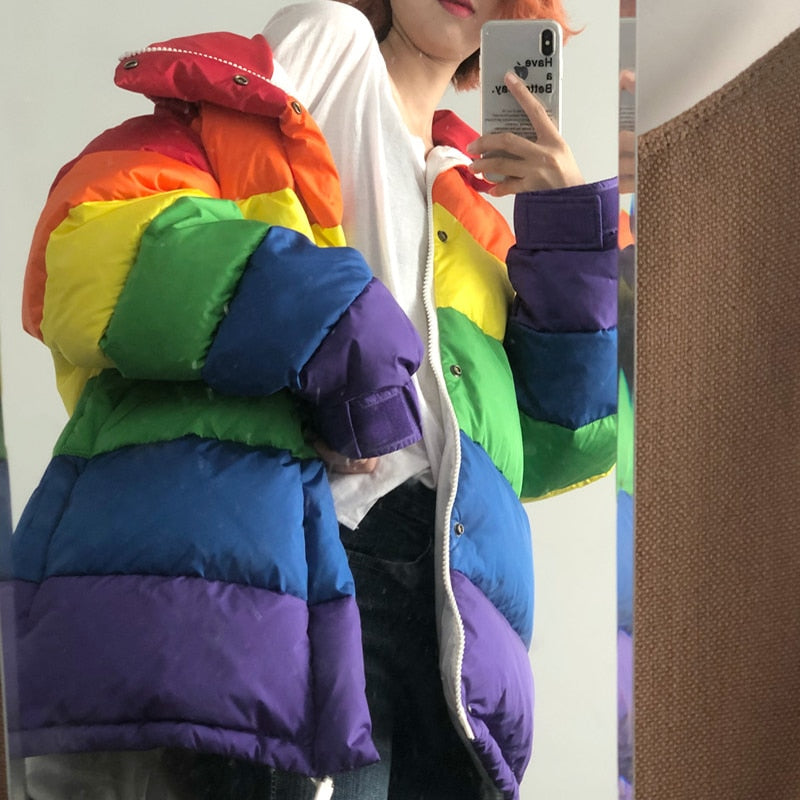 Fluffy Rainbow Winter Coat Fluffy Winter Rainbow Jacket M - Shopptique