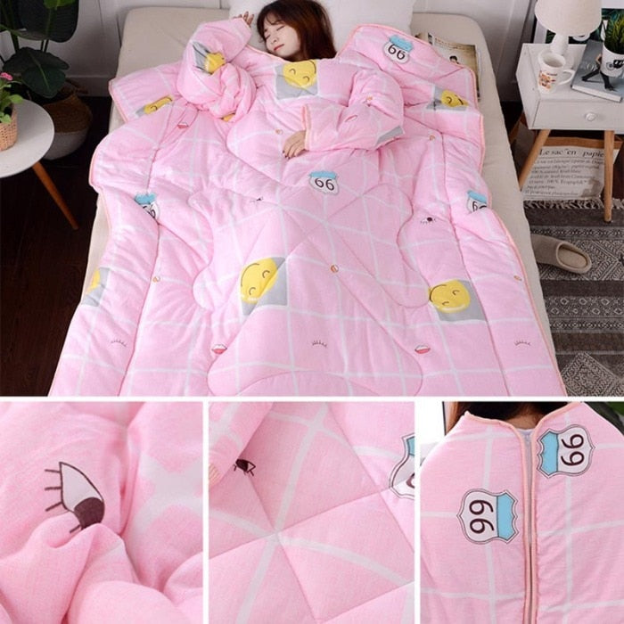 Lazyblanket- Quilted Blanket W/Hoody Lazy Quilted Blanket Hoody - Shopptique