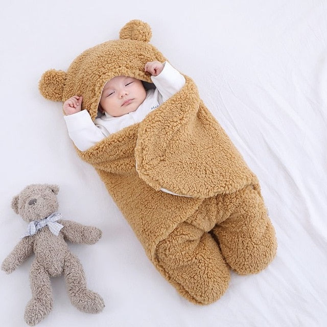 BuddyBed- Ultra Soft Baby Sleeping Bag Baby Sleeping Bag Ultra-Soft Fluffy Fleece Newborn Receiving Blanket Infant Boys Girls ClothesSleeping Nursery Wrap Swaddle Brown / For 3 Months - Shopptique
