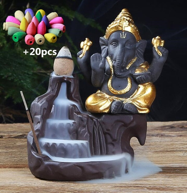 Lord Ganesha Backflow Incense Burner with 20 cones Gold - Shopptique