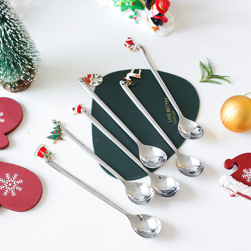 6pcs New Year Decorative Christmas Spoon Set Christmas Spoons Xmas Party Tableware Ornaments Christmas Decorations for Home Silver - Shopptique