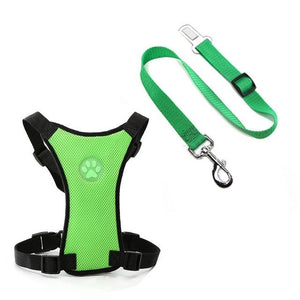 Dog Car Harness Seat Belt Restraint Green / S - Shopptique