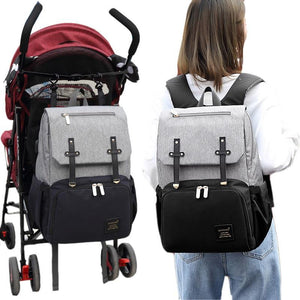 Premium Baby Diaper Bag Backpack For Girls/Boys Gray/Black - Shopptique