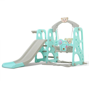 3 in 1 Kids Swing Set Playhouse With Slide Blue - Shopptique