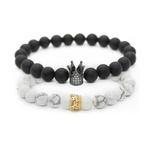 Crown Stacked Bracelet Black & White - Shopptique