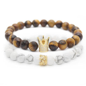 Crown Stacked Bracelet Brown & White - Shopptique
