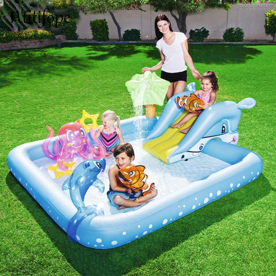 Kids Backyard Inflatable Blow Up Water Slide Pool - Shopptique