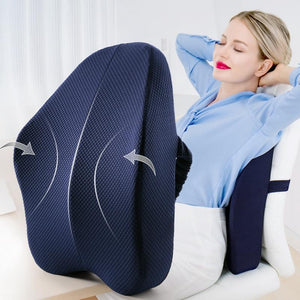 Lumbar Back Support Pillow Cushion For Chairs Navy - Shopptique