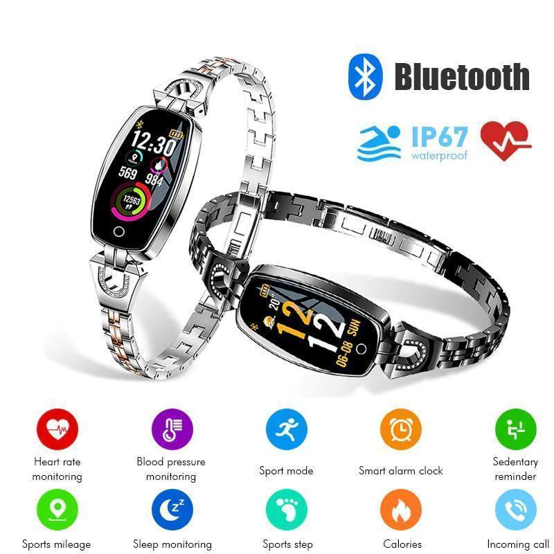 Premium Smart Watch For Women - Compatible with Android & iOS Smartwatch Fitness Tracker - with Blood Pressure Monitor Silver - Shopptique