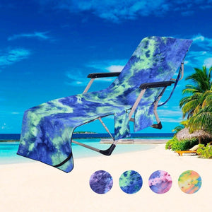 2-in-1 Beach Towel Tote Sun Lounger Beach Towel - Pocketed Beach Towel Green - Shopptique