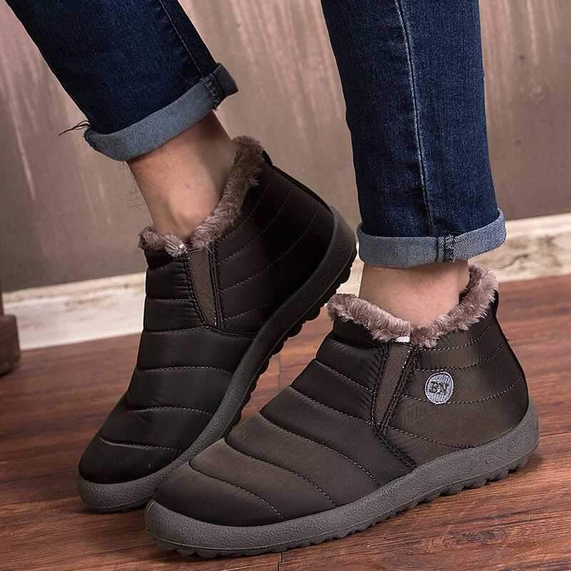 Women's Soft Sole Warm Ankle Boots Warm Snow Boots, Winter Warm Ankle Boots, Fur Lining Waterproof Boots Coffee / 10 - Shopptique