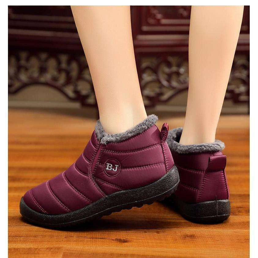 Women's Soft Sole Warm Ankle Boots Warm Snow Boots, Winter Warm Ankle Boots, Fur Lining Waterproof Boots Red / 10 - Shopptique