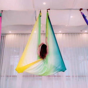 Anti-Gravity Yoga Hammock Yoga Swing - Yoga Hammock - Aerial Yoga Hammock Multi Yellow - Blue - Shopptique
