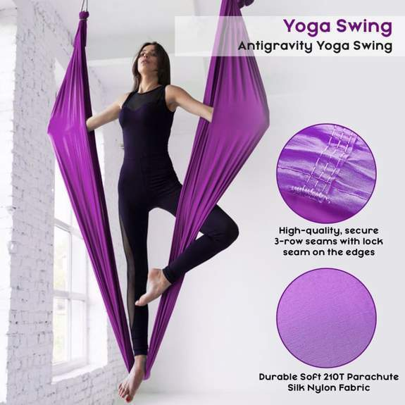 Anti-Gravity Yoga Hammock Yoga Swing - Yoga Hammock - Aerial Yoga Hammock Purple - Shopptique