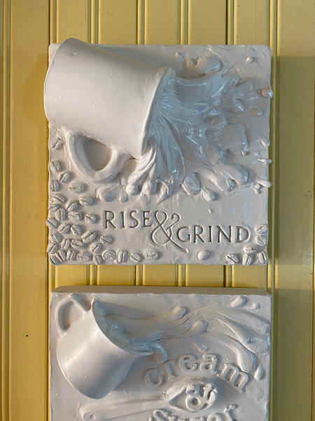 Rise & Grind Coffee Kitchen Relief Wall Sculpture - Exclusive to The Sculpture Store