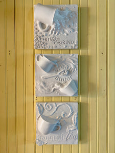 Coffee, Tea, Cream & Sugar Triptych Relief Wall Sculpture - Exclusive to The Sculpture Store