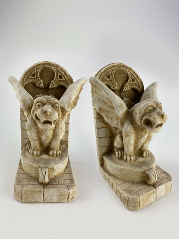 Gothic Winged Gargoyle Bookends