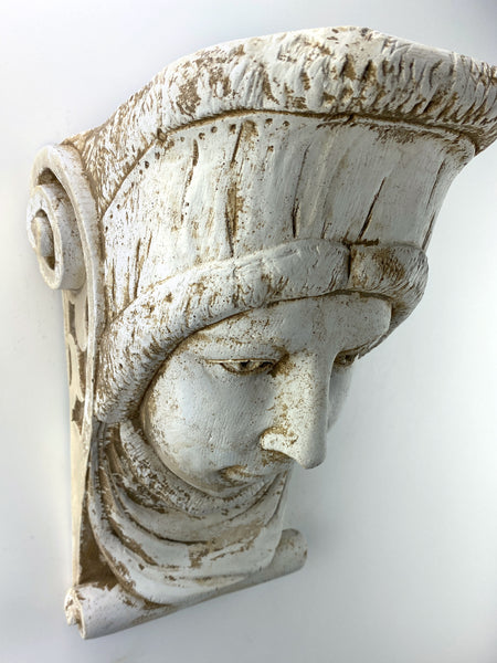 King Face Woman with Head Wrap Corbel