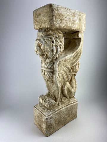 "33"" Large Winged Lion Column Pedestal"