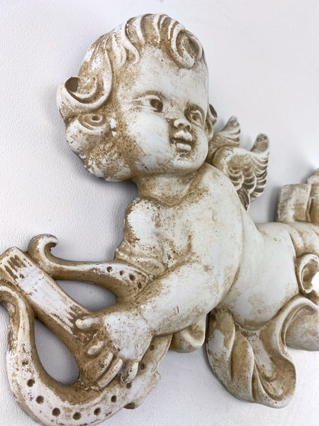 Eros Cupid with Lyre Wall Sculpture