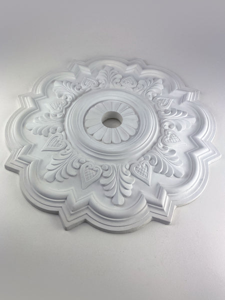 "21"" Queen Ann Acanthus Leaf Heart Ceiling Medallion"