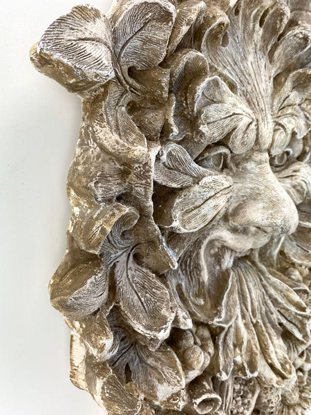 Vintage Cornucopia Green Man Leaf Face Wall Art