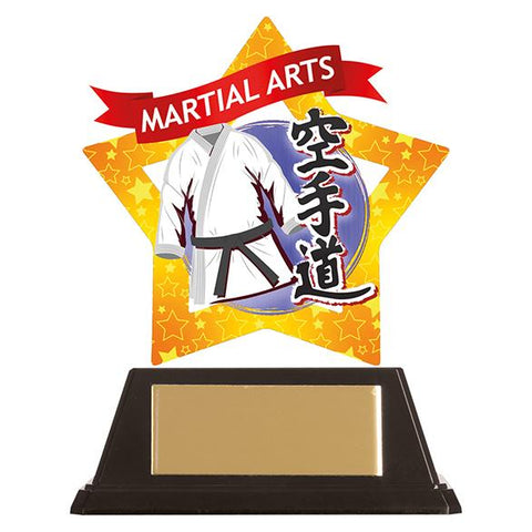 Mini-Star Karate Acrylic Blue Plaque AC19675