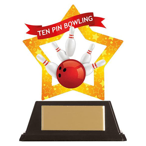 Mini-Star Ten pin Bowling Acrylic Plaque AC19699