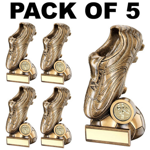 5 PACK of Football Boot Trophies RF355 SALE