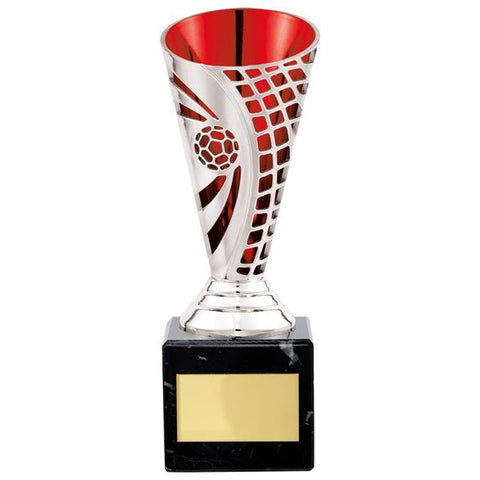 Defender Football Trophy Cup Silver & Red 170mm
