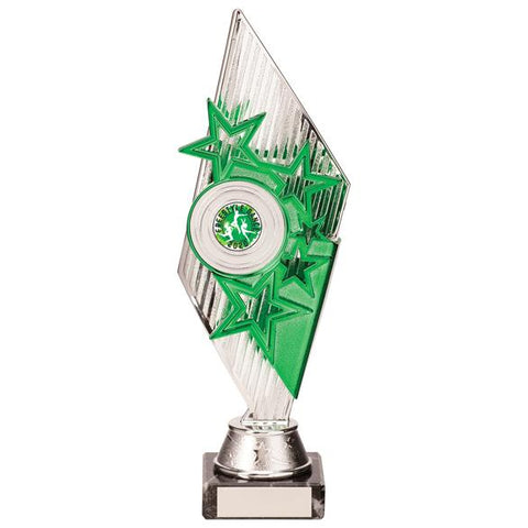 Pizzazz Plastic Trophy Silver & Green 270mm